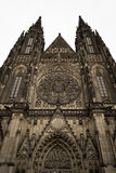 Front of the gothic Vysehrad cathedral in Prague with beautiful stone statues Royalty Free Stock Image