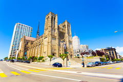 Front Grace Cathedral San Francisco Sunny Day. San Francisco, USA - May 20, 2016: Iconic Grace Cathedral stands on top of Nob Hill on a beautiful sunny, blue sky Stock Photography