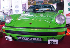 Front of green sports car Porsche Royalty Free Stock Images