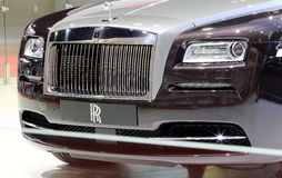 Front grill of black Rolls Royce luxury car Royalty Free Stock Photography
