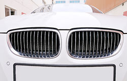 Front grill of BMW white car Stock Image