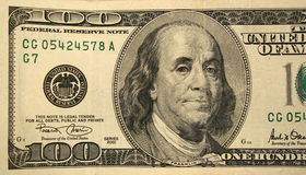 Front half of a one hundred dollar bill. The Front half of a one hundred dollar bill Royalty Free Stock Image