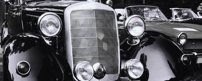 Front headlights of a restored retro car Stock Photo