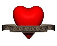 front heart matte red ribbon valentine view Στοκ Φωτογραφία