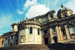 Front of the historical Basilica Papale di Santa Maria Maggiore church in Rome. Rome, Italy - March 10 2015 : Front of the historical Basilica Papale di Santa Stock Image