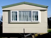 Front of Holiday Home. Static Caravan in East Yorkshire UK Stock Photos