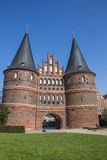 Front of the Holsten gate in Lubeck Stock Image