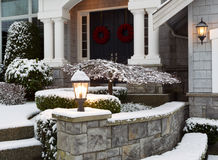 Front of Home during the Winter Holidays Stock Photos