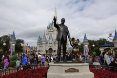 Front horizonal view of Walt Disney and Mickey Mouse Partners statue stock photography