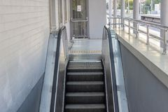 Front horizontal shot of mechanical stair stock photography
