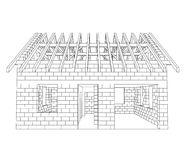 Front house construction line drawing  Stock Photo