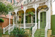 Front of house in New Orleans. Louisiana - USA stock photos
