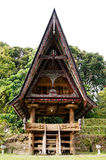 Front of a house at an old Batak village in Sumatra Samosir Island. Front of a house at an old Batak village in Sumatra Samosir Island in the afternoon Royalty Free Stock Photos