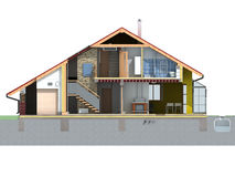 Front house section. Front and section view of a house with pitched roof on white background. Rendering Stock Image