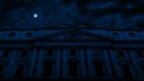 Front Of Huge Classical Building sotto la luna stock footage