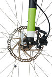 Front hydraulic disk brake and shock absorber fork of MTB Royalty Free Stock Image
