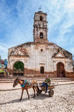 In front of `Iglesia de Santa Ana` Royalty Free Stock Photography