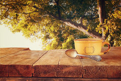 Front image of coffee cup over wooden table and autumn leaves in front of forest background . retro style image Royalty Free Stock Images