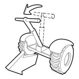 Front inclined segway icon, outline style. Front inclined segway icon. Outline illustration of front inclined segway vector icon for web Stock Image