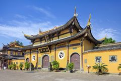 Front of Jiangxin Buddhist Temple, Wenzhou, China. WENZHOU-CHINA-NOVEMBER 20, 2014. Front of Jiangxin Buddhist Temple, which was rebuilt in 1789 and encompasses Royalty Free Stock Photography
