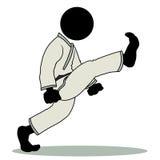 Front kick. Silhouette-man kungfu action icon - front kick Stock Photo