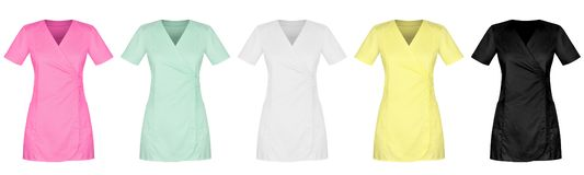 Front of lady medical uniform in five colors on white background royalty free stock photos