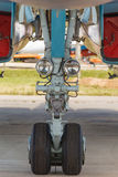 The front landing gear of military aircraft Stock Photos