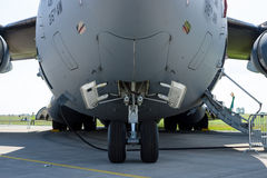 The front landing gear of a strategic and tactical airlifter Boeing C-17 Globemaster III. BERLIN, GERMANY - JUNE 03, 2016: The front landing gear of a strategic Stock Image