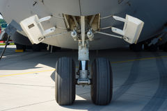 The front landing gear of a strategic and tactical airlifter Boeing C-17 Globemaster III. BERLIN, GERMANY - MAY 21, 2014: The front landing gear of a strategic Royalty Free Stock Photo