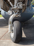 Front landing wheel of a plane Stock Image