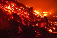 Lava flow on Etna Volcano. The front of a lava flow seen in detail on Etna Volcano in Sicily royalty free stock image