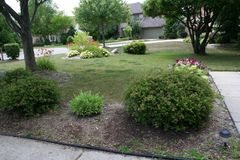 The Front Lawn. The real estate landscaped front lawn of a home in suburbia among it`s neighbors Stock Photo