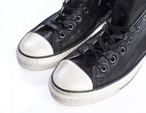 Front of leather sneakers Royalty Free Stock Images