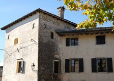 Front left and facing south the castle of Strassoldo Friuli (Italy). Photo made at the castle and the village of Strassoldo Friuli (Italy). In the image you see Stock Images