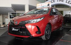 Front Left Red Toyota Yaris Ativ 2020 Car in Car Showroom