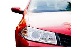 Front lights. Of a red car Stock Images