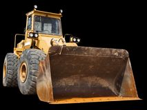 Front Loader. Front-end loader isolated on a black background Royalty Free Stock Images