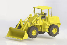 Front  loader. 3D render of yellow heavy front loader Royalty Free Stock Photography