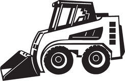 Front Loader Illustration. Line Art Illustration of a Front Loader Royalty Free Stock Photo