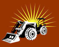 Front loader with sunburst Stock Photo
