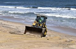 Front loader on Vilano Beach, Florida following Hurricane Matthew Stock Photography