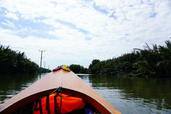 Front of the long tail boat between mangrove forest in the river Royalty Free Stock Photos