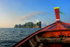 Front of longtail boat going to Phi Phi Leh Island in Krabi Prov Stock Image