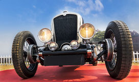Front lower angle view of a retro vintage sports car Stock Images