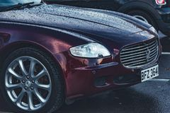 Front of a luxury, Italian saloon car royalty free stock image