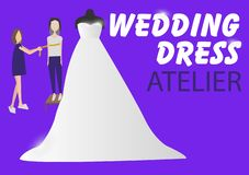 Front mannequin with wedding dress. Seamstress with bride on back. royalty free illustration