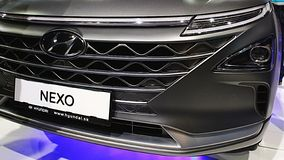 Front mask and LED head lights of new hydrogen fuell cell SUV car Hyundai Nexo. Front mask and LED head lights of new Korean hydrogen fuell cell SUV car Hyundai royalty free stock photo