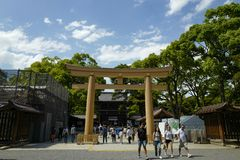 In front of Meiji shrine, located in Shibuya, Tokyo. Tokyo, Japan, 2rd, June, 2017. In front of Meiji shrine, located in Shibuya, Tokyo, is the Shinto shrine stock photography