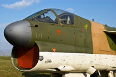 Front of military aircraft. Front of modern military bomber aircraft royalty free stock images