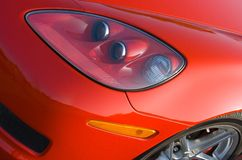 Front of modern American muscle car. Front of a modern American red muscle car Royalty Free Stock Photos